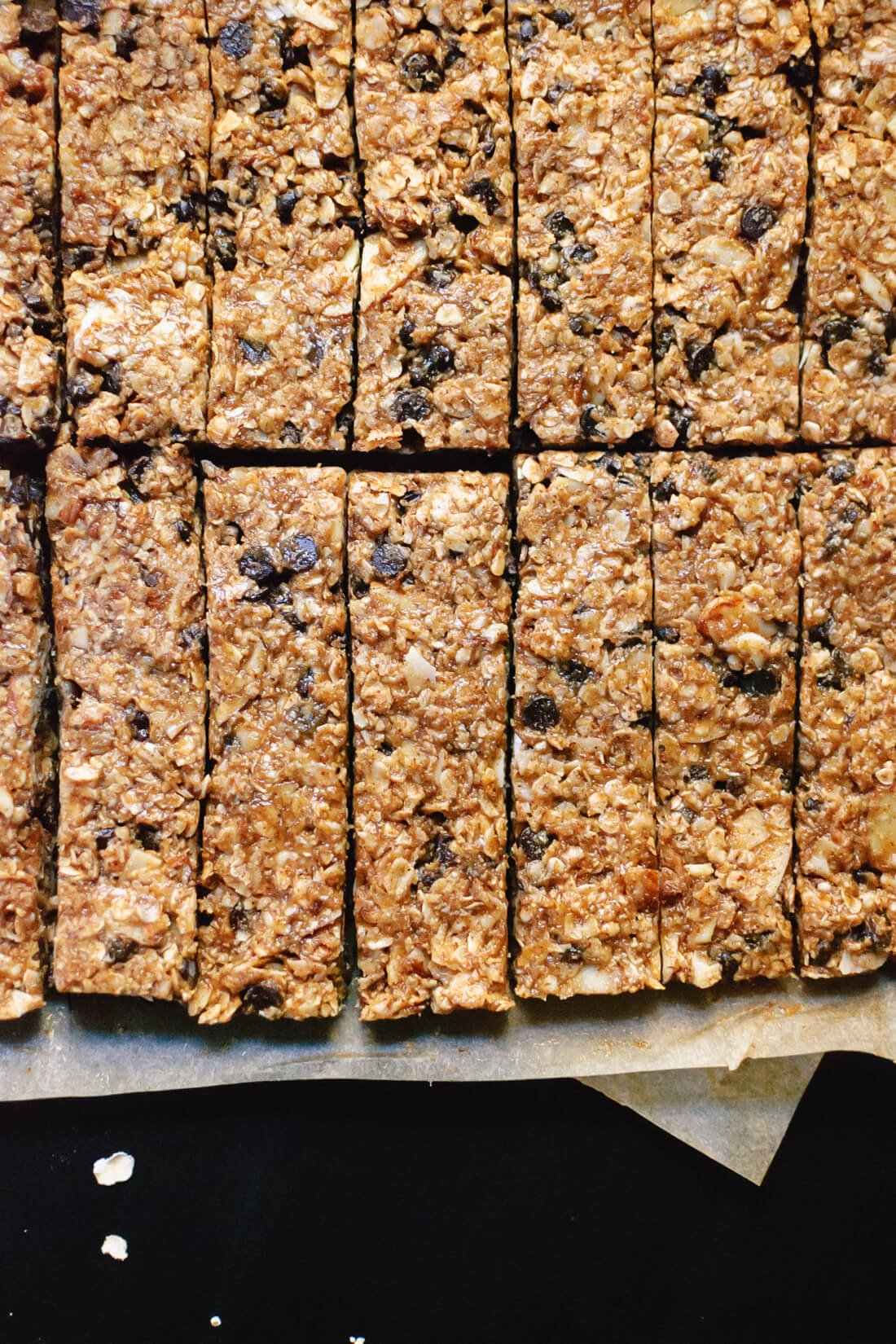 Gluten-free, naturally sweetened, almond chocolate chip granola bars