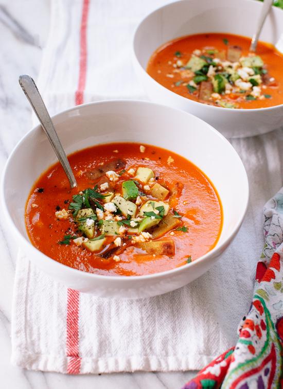 Roasted red pepper tortilla soup recipe - cookieandkate.com