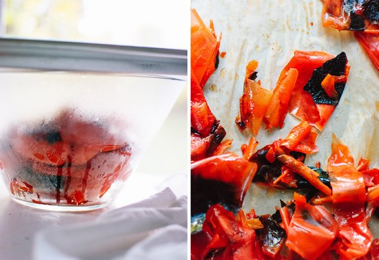 steaming red bell peppers