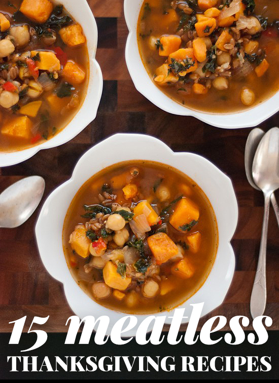 A roundup of 15 fresh, meatless recipes for your Thanksgiving table! cookieandkate.com