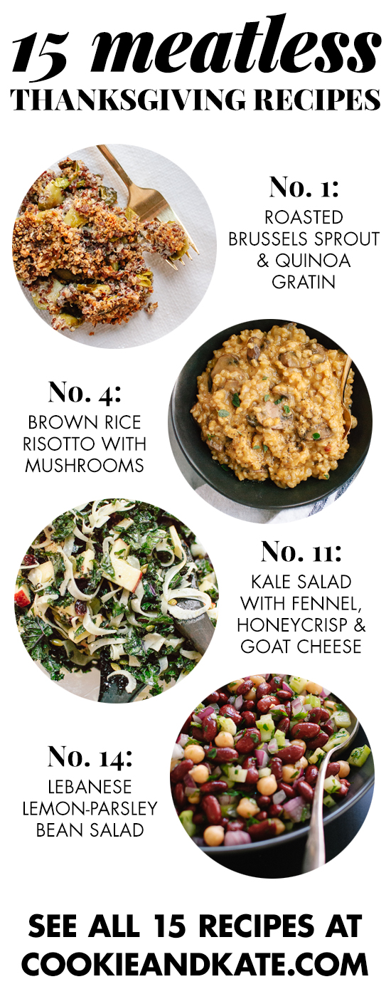 15 delicious vegetarian recipes for your Thanksgiving table! Find them at cookieandkate.com