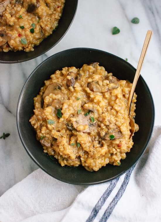 Easy Brown Rice Risotto with Mushrooms and Fresh Oregano - cookieandkate.com