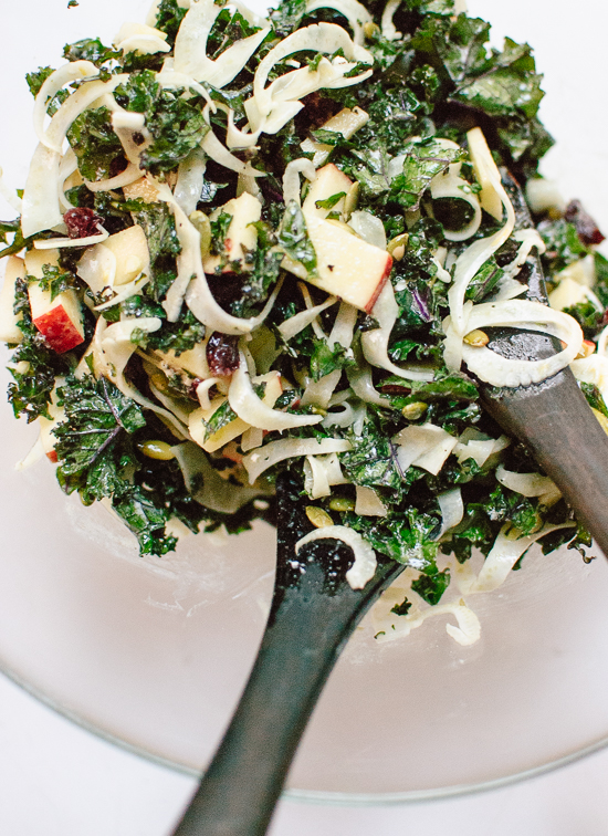 Autumn Kale Salad with Fennel, Honeycrisp and Goat Cheese - cookieandkate.com