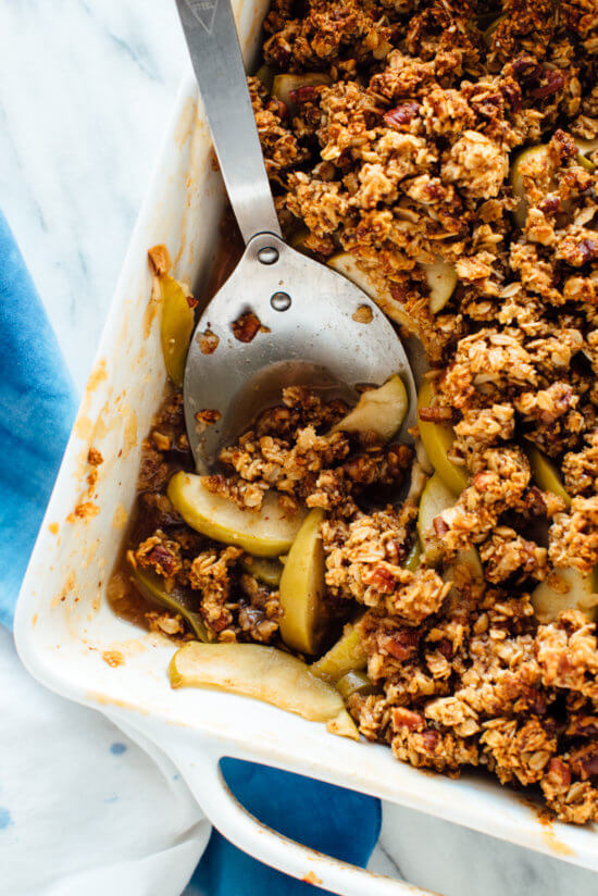 This gluten-free apple crisp recipe is my favorite! The topping is made of almond meal and oats, and the filling is naturally sweetened with honey.