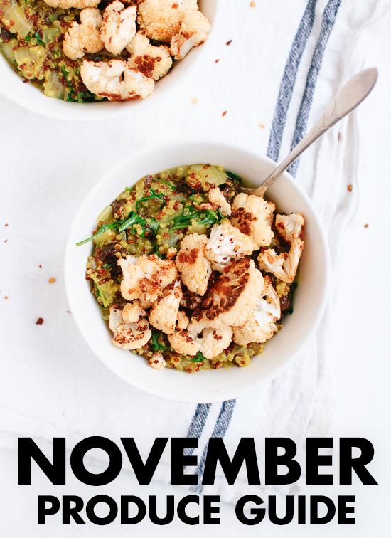 Learn what to do with November fruits and vegetables! Find recipes, preparation tips and more. cookieandkate.com