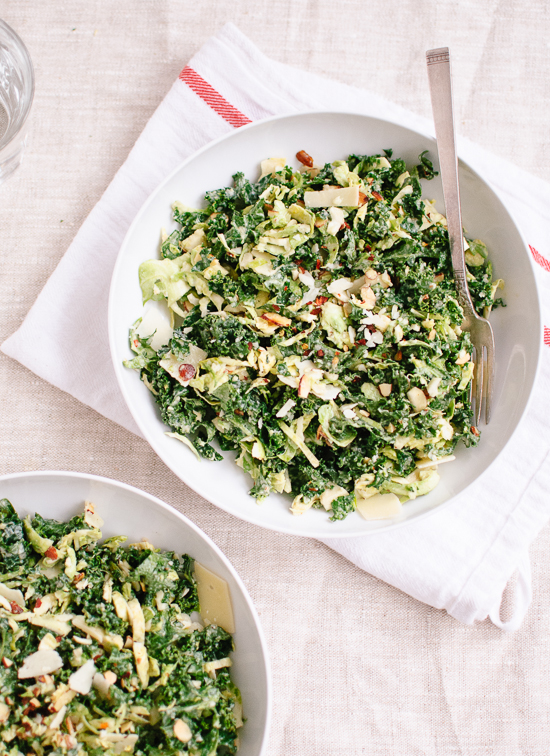 Raw Kale and Brussels Sprouts Salad with Tahini-Maple Dressing - cookieandkate.com