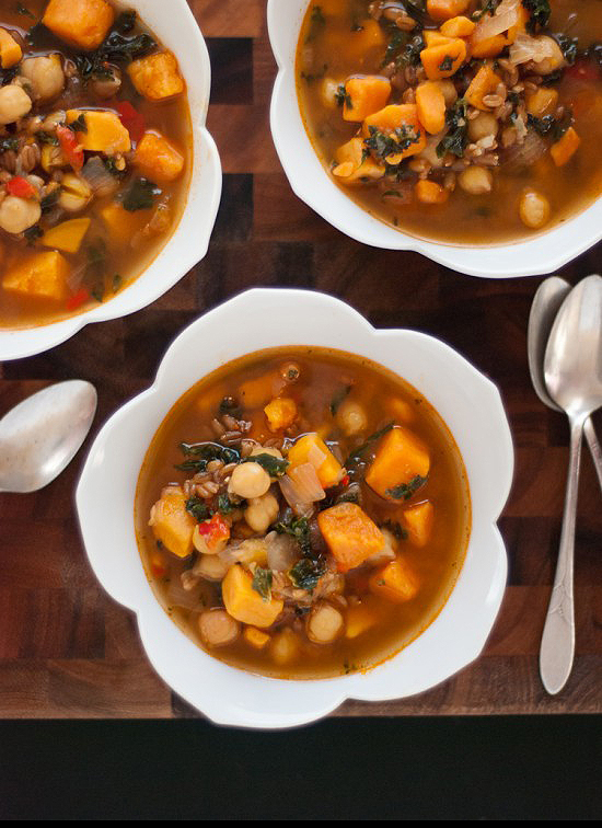 Sweet potato, kale and farro soup - by @cookieandkate