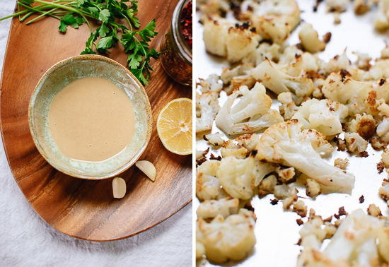 tahini sauce and roasted cauliflower