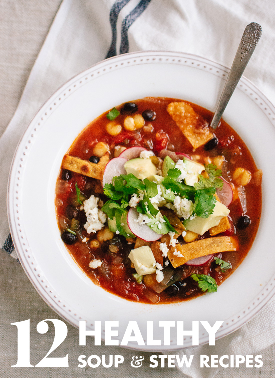 12 healthy vegetarian soup, stew and chili recipes! cookieandkate.com
