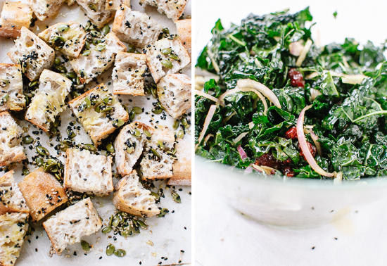 croutons and kale salad