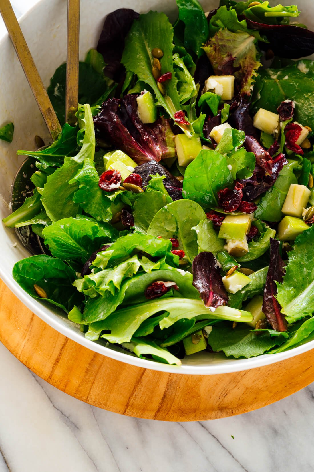 Favorite Green Salad With Apples Cranberries And Pepitas