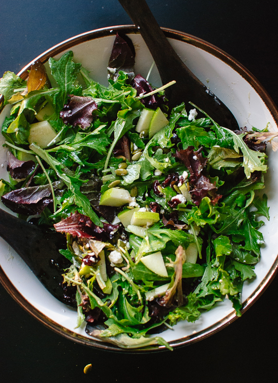 Green salad with apple, pepitas-cranberries and goat cheese - cookieandkate.com