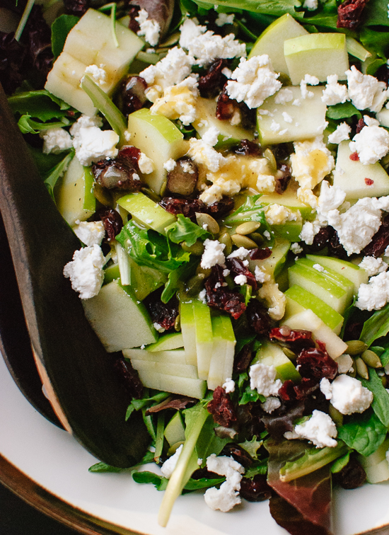 Simple green salad with apple, pepitas, cranberries and goat cheese ...
