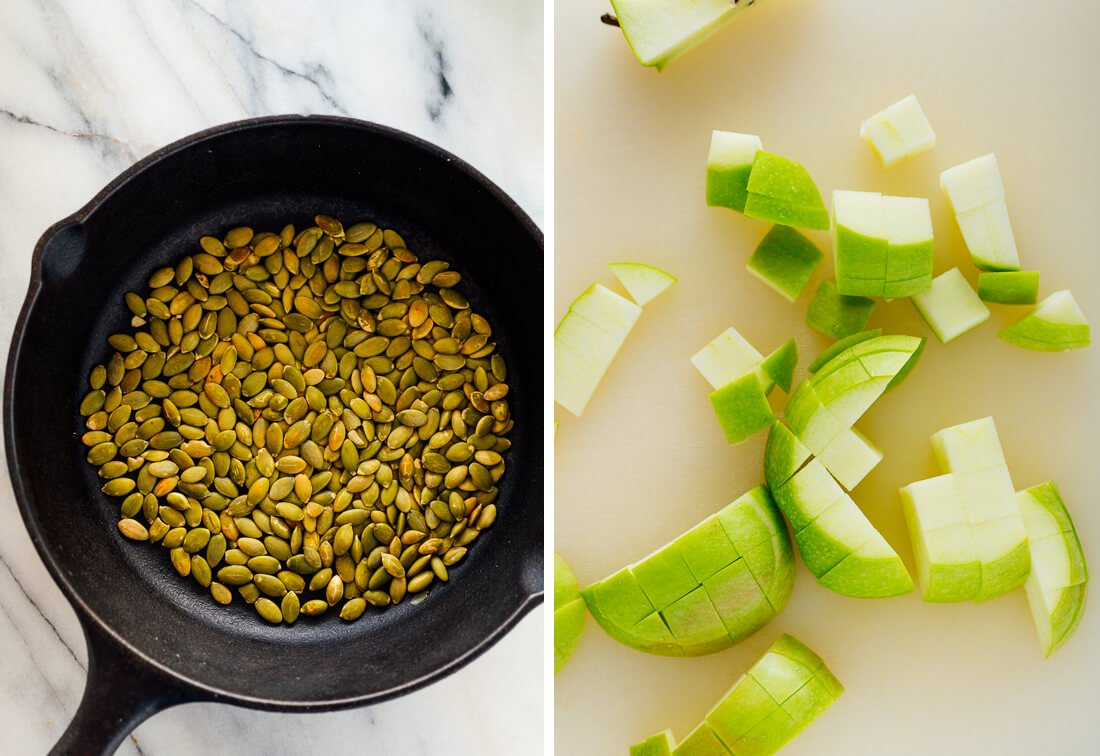toasted pepitas and chopped green apple