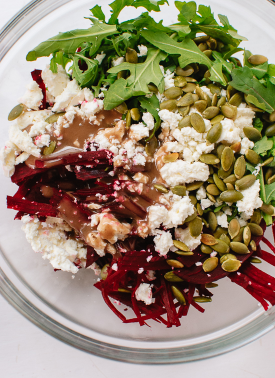 Beet, arugula and feta salad with balsamic dressing - cookieandkate.com