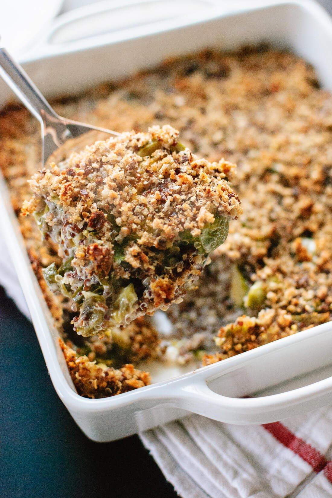 Brussels sprout quinoa gratin recipe