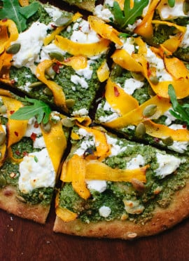 Butternut Ribbon Goat Cheese Pizza with Arugula-Pepita Pesto