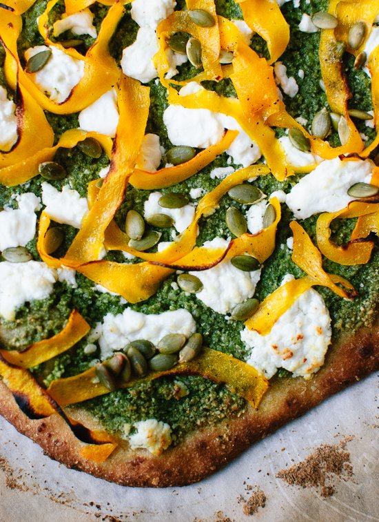 Butternut, pesto and goat cheese pizza recipe - cookieandkate.com