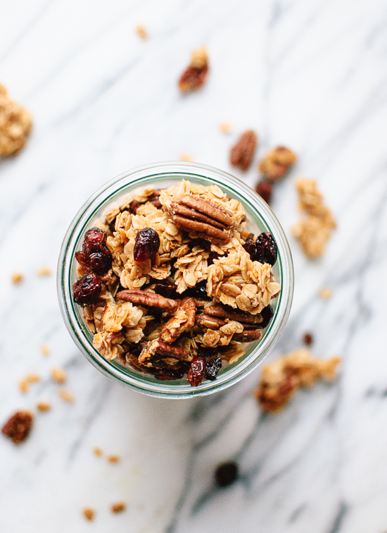 Delicious, extra clumpy, homemade cranberry orange granola! cookieandkate.com