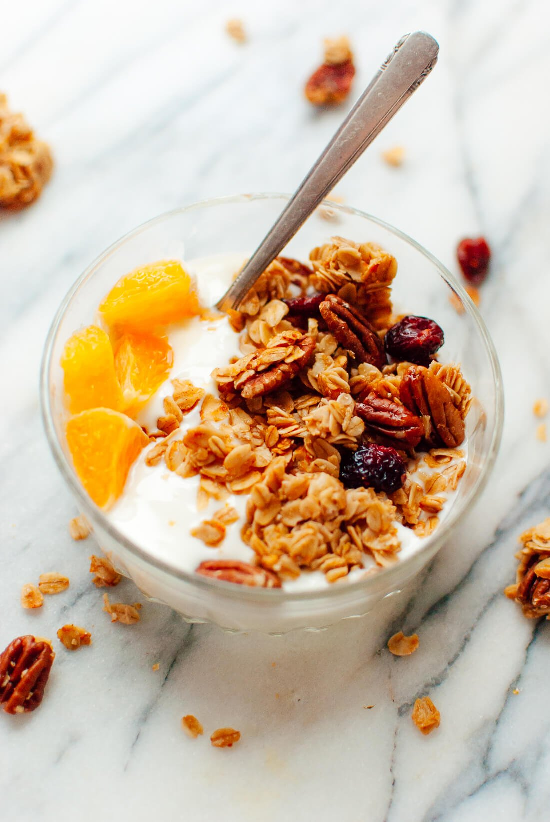 cranberry orange granola with yogurt