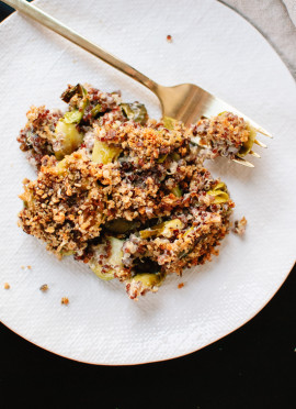 Creamy Roasted Brussels Sprout and Quinoa Gratin