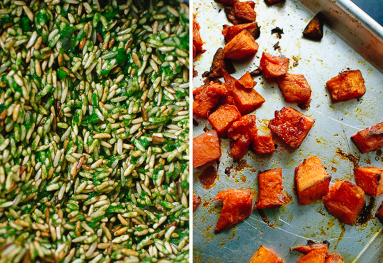 green rice and roasted sweet potatoes