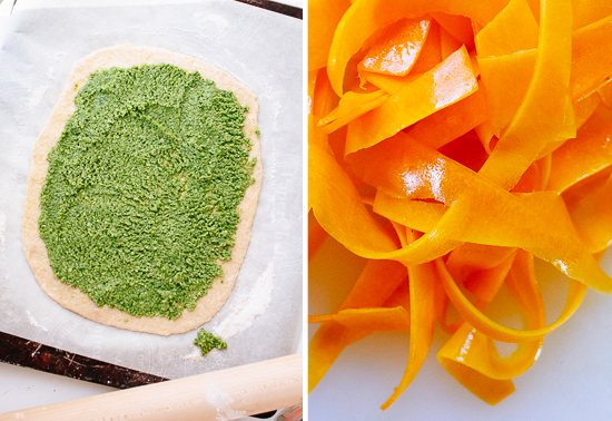 pesto pizza and butternut ribbons