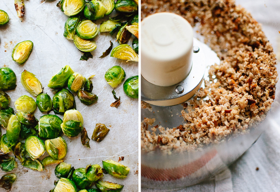 Roasted Brussels sprouts and bread crumbs