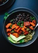Roasted sweet potatoes with green rice and black beans. cookieandkate.com