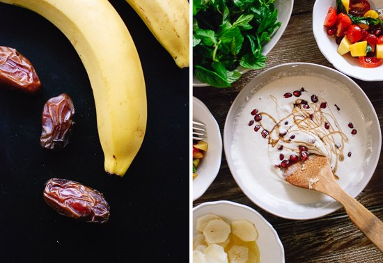 bananas, dates and tahini