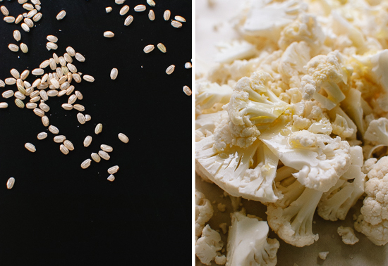 brown arborio rice and cauliflower