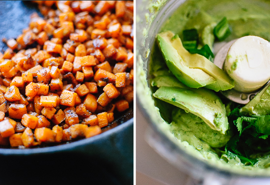 cooked sweet potato and avocado sauce
