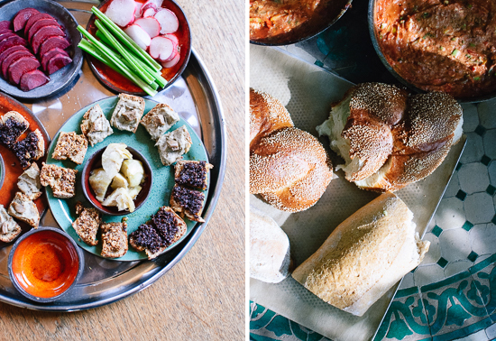 Israeli appetizers and challah