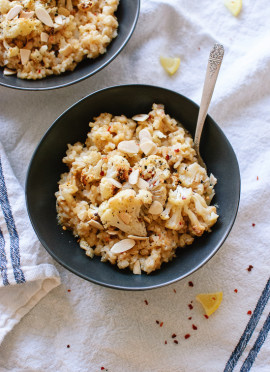 Lemony Roasted Cauliflower Risotto