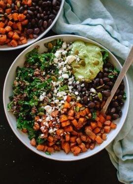 Southwestern Kale Power Salad with Sweet Potato, Quinoa & Avocado Sauce