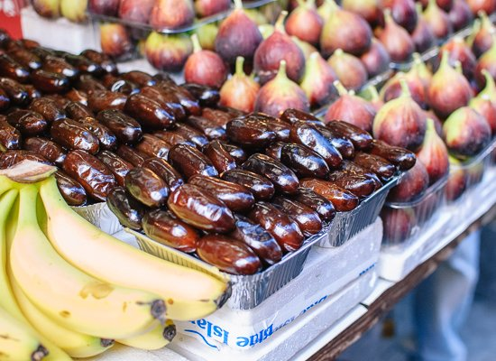 fresh dates and bananas