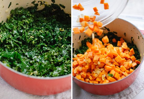 braised kale and sweet potato
