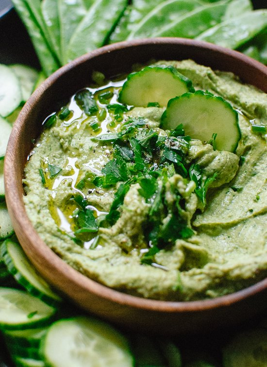 Ultra creamy  homemade hummus with lots of herbs - cookieandkate.com