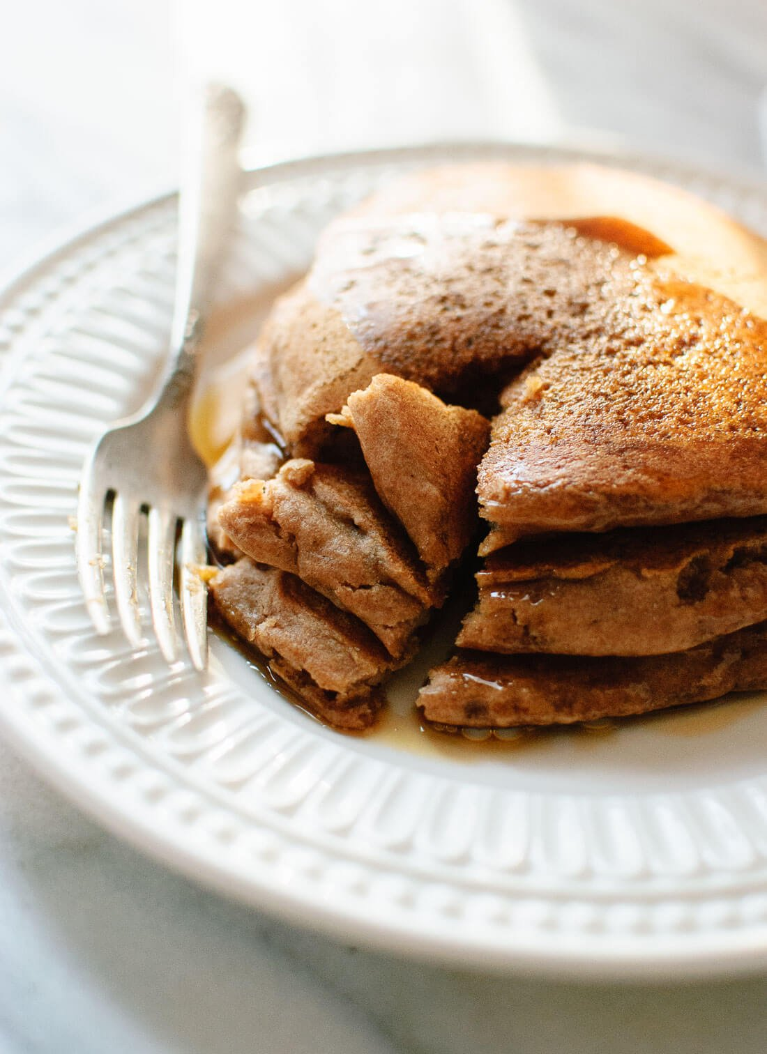 These fluffy vegan pancakes are the best! No eggs or egg substitutes required. cookieandkate.com