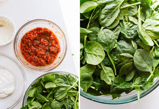 fresh spinach lasagna ingredients