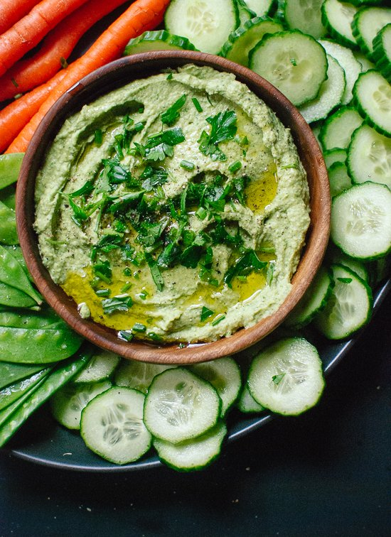 Green goddess hummus recipe (plus, learn the trick to making extra creamy homemade hummus!) - cookieandkate.com