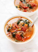 This quinoa vegetable soup makes great leftovers for lunch! It's easy to make and good for you, too. cookieandkate.com