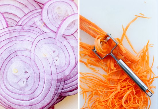sliced red onions and carrots