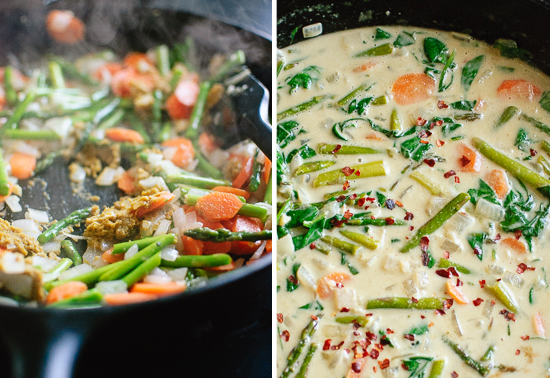 Thai green curry with spinach