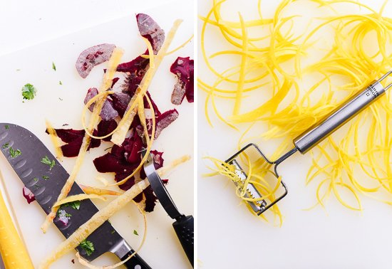 beet and carrot shavings