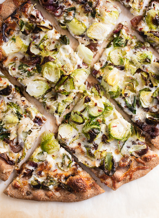 Brussels sprouts pizza recipe - cookieandkate.com