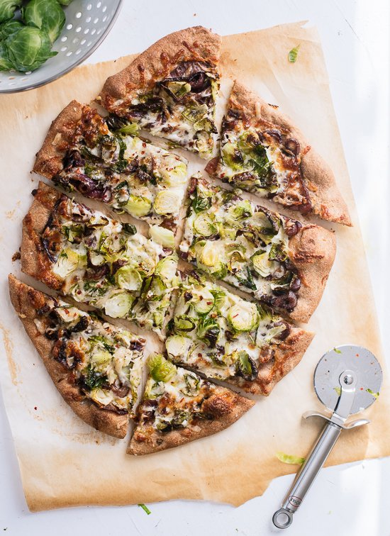 Brussels sprouts pizza - cookieandkate.com