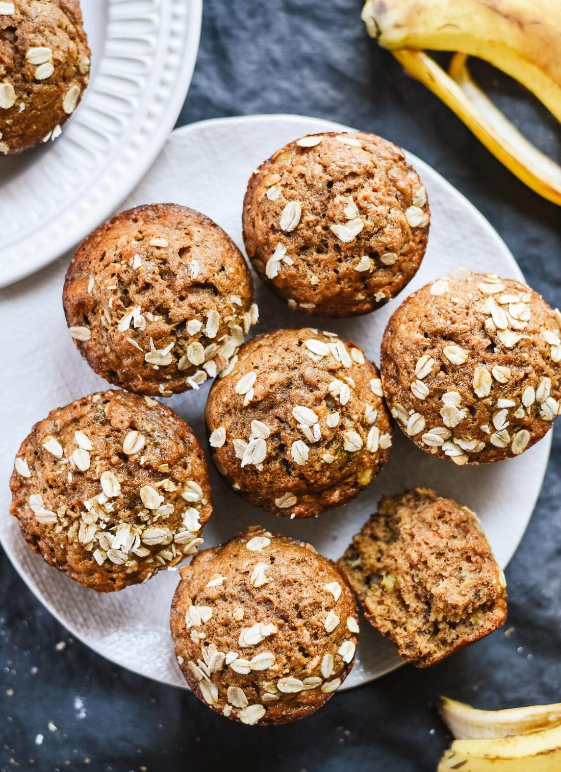 Healthy banana muffins recipe (whole grains, naturally sweetened and so good!) - cookieandkate.com