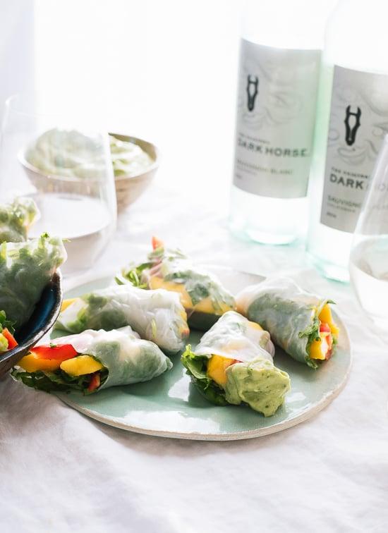 Mango spring rolls with avocado sauce - cookieandkate.com