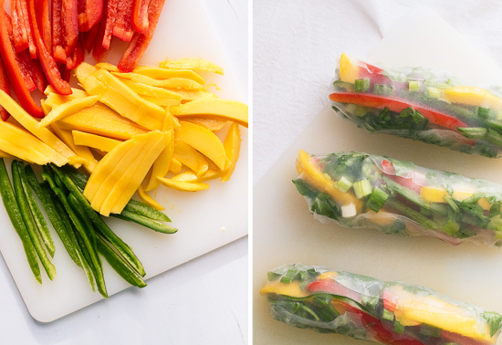 prepared mango spring rolls